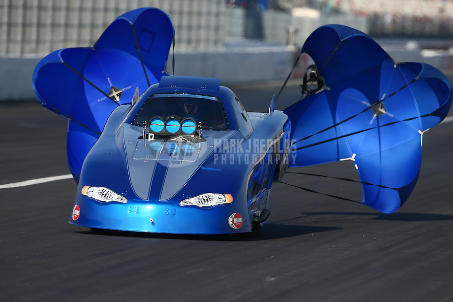 Feb 8, 2014; Pomona, CA, USA; NHRA top alcohol funny car driver Clint Thompson during qualifying for the Winternationals at Auto Club Raceway at Pomona. Mandatory Credit: Mark J. Rebilas-