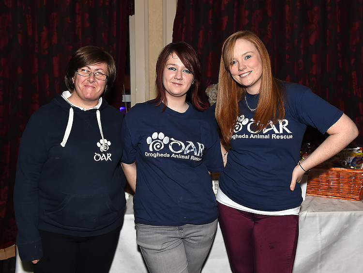 Linda O'Driscoll, Elysia Dillon and Emma Brannigan pictured at the white collar boxing in the Westcourt Hotel in aid of Drogheda Animal Rescue. Photo:Colin Bell/pressphotos.ie