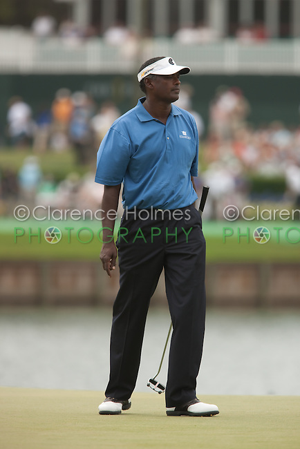 PONTE VEDRA BEACH, FL - MAY 6: Vijay Singh on the 17th green during his practice round on Wednesday, May 6, 2009 for the Players Championship, beginning on Thursday, at TPC Sawgrass in Ponte Vedra Beach, Florida.