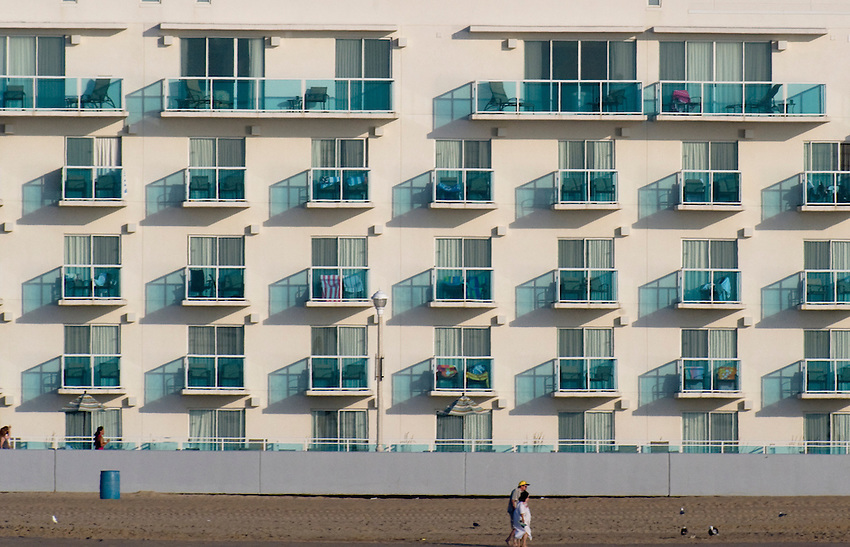 Hotel windows and balconies viewed from the ocean in Ocean City, Maryland. July 24, 2010.