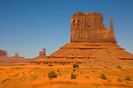 U.S.A., Arizona, Monument Valley, Navajo Tribal Park, red rock, American, desert landscape, Highway 163, blur motion,