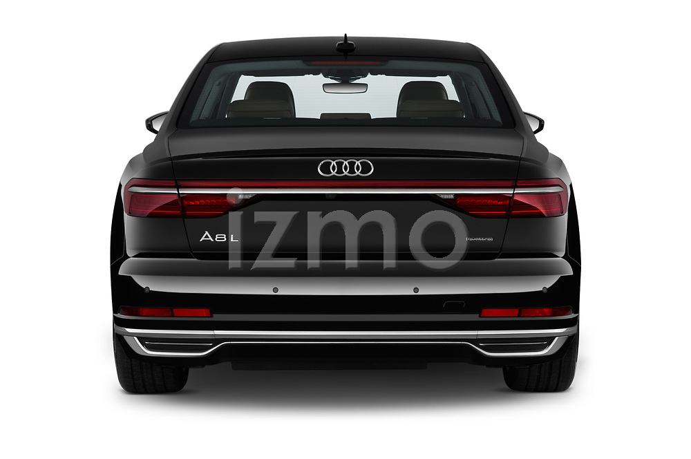 Straight rear view of 2019 Audi A8-L - 4 Door Sedan Rear View  stock images