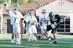 La Canada Flintridge, CA 03/16/13 - Jim Keane (De La Salle #7), Daren Owen (Coronado #18) and Brett Inglesby (De La Salle #13) in action during the De La Salle vs Coronado lacrosse game at St Francis High School.  De La Salle defeated Coronado 8-5.