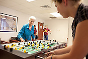 Heloise plays foosball with Math Camp counselor Maja Wichrowska during a visit to her old dorm building on the campus of Texas State University in San Marcos, Texas. July 14, 2009.