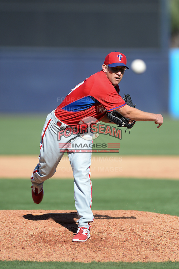 Philadelphia Phillies pitcher Shawn Camp (50) during a spring training game against the New York Yankees on March 1, 2014 at Steinbrenner Field in Tampa, Florida.  New York defeated Philadelphia 4-0.  (Mike Janes/Four Seam Images)