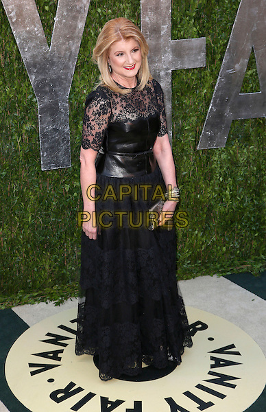 Arianna Huffington.2013 Vanity Fair Oscar Party following the 85th Academy Awards held at the Sunset Tower Hotel, West Hollywood, California, USA..February 24th, 2013.oscars full length black lace leather dress clutch bag.CAP/ADM/SLP/DOW.©Dowling/StarlitePics/AdMedia/Capital Pictures