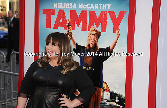 HOLLYWOOD, CA- JUNE 30: Actress Melissa McCarthy arrives at the 'Tammy' - Los Angeles Premiere at TCL Chinese Theatre on June 30, 2014 in Hollywood, California.