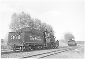 3/4 rear engineer's-side view of D&amp;RGW #360 changing places with K-37 #494 on an excursion train.<br /> D&amp;RGW    Taken by Richardson, Robert W. - 9/19/1948