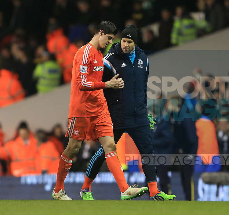 Chelsea's Thibaut Courtois goes off looking at his finger<br /> <br /> Barclays Premier League - Tottenham Hotspur vs Chelsea - White Hart Lane  - England - 1st January 2015 - Picture David Klein/Sportimage