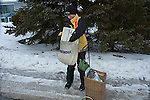 Teen aged boy working as paper delivery person