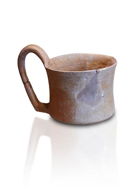 Hittite terra cotta big handled tankard mug. Hittite Empire, Alaca Hoyuk, 1450 - 1200 BC. Alaca Hoyuk. Çorum Archaeological Museum, Corum, Turkey. Against a white bacground.