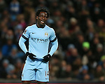A smile from Wilfried Bony of Manchester City after missing a chance to score - Barclays Premier League - Manchester City vs Newcastle Utd - Etihad Stadium - Manchester - England - 21st February 2015 - Picture Simon Bellis/Sportimage
