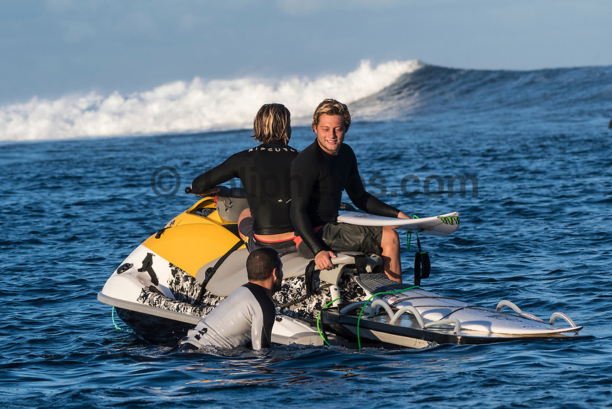 NAMOTU, Fiji (Wednesday, June 14, 2017) Conner Coffin (SA) and his brother Parker Coffin (USA) talking to Adriano de Souza (BRA)- The Outerknown Fiji Pro, Stop No. 5 on the 2017 World Surf League (WSL) Championship Tour (CT), was completed today with Matt Wilkinson (AUS) defeating tour rookie Connor O'Leary (AUS) in the 40 minute final. Conditions at Cloudbreak this morning. were near perfect with sets in the 6'-8' range and light winds. With his win today Wilkinson jumps to the top of the world tour rankings after all of the top seeds were eliminated early in the event.<br />  Location:      Tavarua/Namotu, Fiji<br /> Event window:   June 4 - 16, 2017<br /> Today's call:<br />  Finals <br /> Conditions:         5 - 7 foot 1.5 - 2 metre)<br /> <br /> Photo: joliphotos.com
