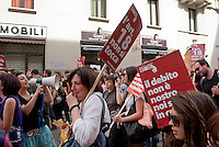 "Milano, ""Occupyamo Piazza Affari"", manifestazione di protesta di partiti e organizzazioni di estrema sinistra contro la crisi economica e i provvedimenti messi in atto dal governo. Articolo 18 --- Milan, ""Occupy Piazza Affari"", demonstration of  extreme left parties and organizations to protest against the  economic crisis and the Government"