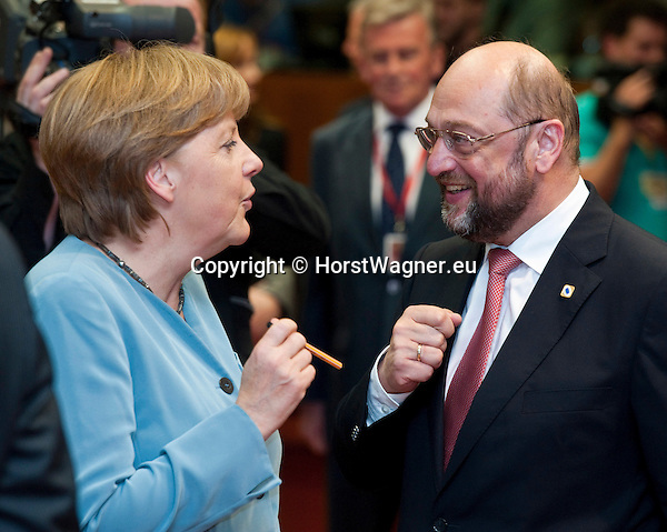 Brussels-Belgium - May 23, 2012 -- European Council, informal EU-summit meeting by Heads of State / Government; here, Angela MERKEL (le), Federal Chancellor of Germany, with MEP Martin SCHULZ (ri), President of the European Parliament -- Photo: © HorstWagner.eu