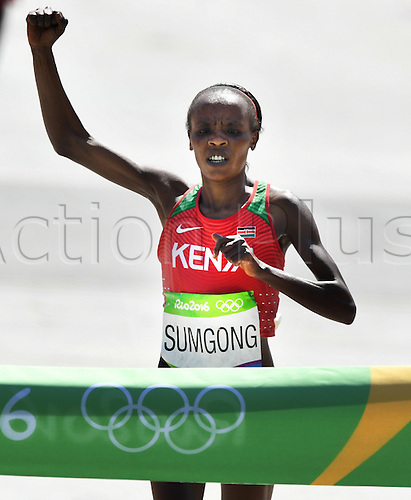 14.08.2016. Rio de Janeiro, Brazil. Jemima Jelagat Sumgong of Kenya wins the Women's Marathon of the Athletic, Track and Field events during the Rio 2016 Olympic Games at Sambodromo in Rio de Janeiro, Brazil, 14 August 2016.