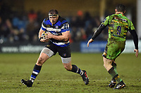 Henry Thomas of Bath Rugby in possession. Anglo-Welsh Cup Semi Final, between Bath Rugby and Northampton Saints on March 9, 2018 at the Recreation Ground in Bath, England. Photo by: Patrick Khachfe / Onside Images