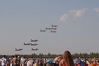 MB-339 aircrafts of the Frecce Tricolori squadron from the Italian Airforce perform during the International Air Show at the Hungarian Air Force base in Kecskemet (about 87 km South-East of the capital city Budapest), Hungary on August 03, 2013. ATTILA VOLGYI