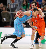 Valencia Basket Club's Pau Ribas (r) and Asefa Estudiantes' Kyle Kuric during Spanish Basketball King's Cup match.February 07,2013. (ALTERPHOTOS/Acero) /NortePhoto
