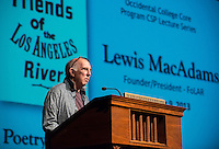 "CSP lecture on water by Lewis MacAdams, who is a poet, journalist, filmmaker, political activist, and the co-founder of the Friends of the Los Angeles River (FoLAR), a non-proft organization that MacAdams has described as a ""40 Year Art Work"" to bring the river back to life through revitalization and education. FoLAR leads the annual river clean up and has been a vital player in efforts to reclaim the river and develop more open, green space. October 9, 2013, Thorne Hall. (Photo by Marc Campos, Occidental College Photographer)"