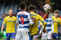 Leeds United's Tyler Roberts competing with Queens Park Rangers' Jordan Cousins<br /> <br /> Photographer Andrew Kearns/CameraSport<br /> <br /> The Emirates FA Cup Third Round - Queens Park Rangers v Leeds United - Sunday 6th January 2019 - Loftus Road - London<br />  <br /> World Copyright &copy; 2019 CameraSport. All rights reserved. 43 Linden Ave. Countesthorpe. Leicester. England. LE8 5PG - Tel: +44 (0) 116 277 4147 - admin@camerasport.com - www.camerasport.com