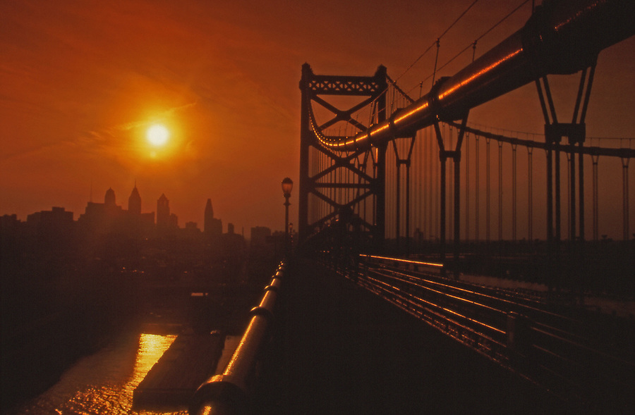 Philadelphia Skyline Silhouette, Ben Franklin Bridge, Sunset