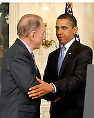 Washington, D.C. - April 29, 2009 -- United States President Barack Obama, right, shakes hands with United States Senator Arlen Specter (Democrat of Pennsylvania), left, after making a statement welcoming the Senator to the Democratic Party.  In his remarks the President also addressed the effects of the H1N1 virus and his administration's response to the potential epidemic..Credit: Ron Sachs / Pool via CNP