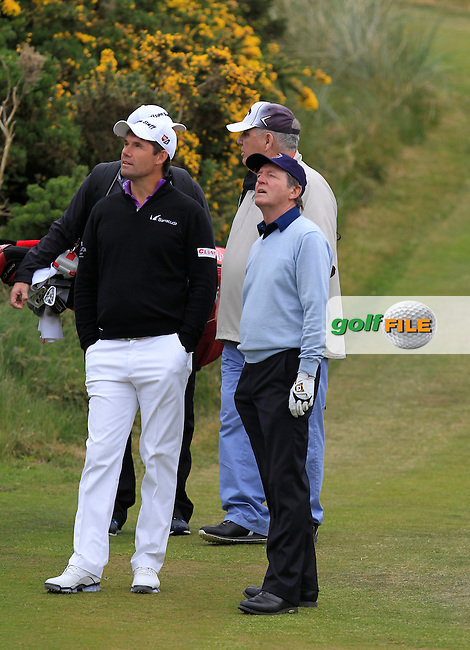 Padraic Harrington (IRL) and Des Smith (IRL) on the 4th during the Pro-Am of the 2015 Dubai Duty Free Irish Open, Royal County Down Golf Club, Newcastle Co Down, Northern Ireland. 27/05/2015<br /> Picture Thos Caffrey, www.golffile.ie