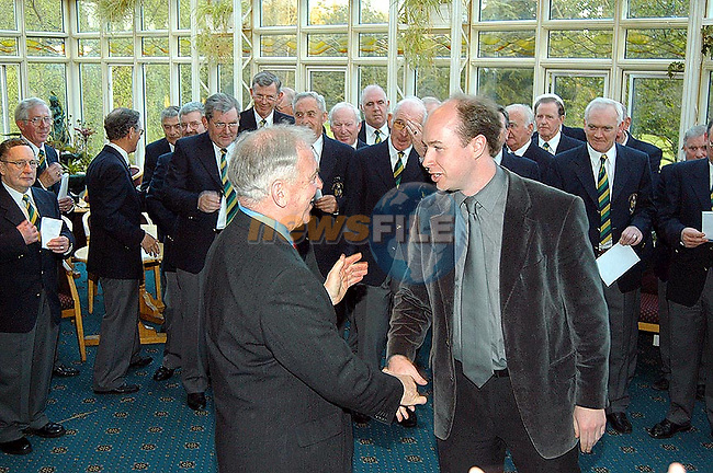 John Quinlivan thanking Edward Holly from the Drogheda Male voice choir,at his Retirement party in The Boyne Valley Hotel..Picture  Newsfile...This Picture is sent to you by:..Newsfile Ltd.The View, Millmount Abbey, Drogheda, Co Louth, Ireland..Tel: +353419871240.Fax: +353419871260.GSM: +353862500958.ISDN: +353419871010.email: pictures@newsfile.ie.www.newsfile.ie