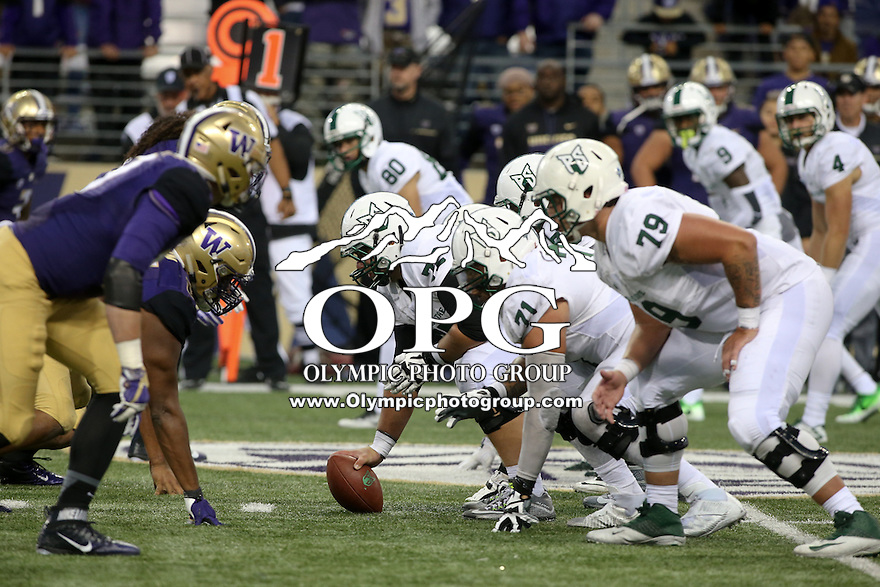 17 September 2016:   Portland State's Chad Bach against Washington. Washington defeated Portland State 41-3 at the University of Washington in Seattle, WA.