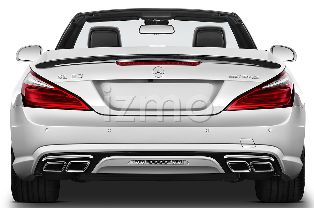 Straight rear view of a 2013 Mercedes-Benz SL-Class SL63 AMG Convertible