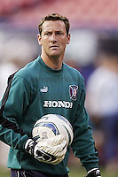 The Chicago Fire's goalkeeper Henry Ring warms up prior to the game. The Chicago Fire played the NY/NJ MetroStars to a one all tie at Giant's Stadium, East Rutherford, NJ, on May 15, 2004.
