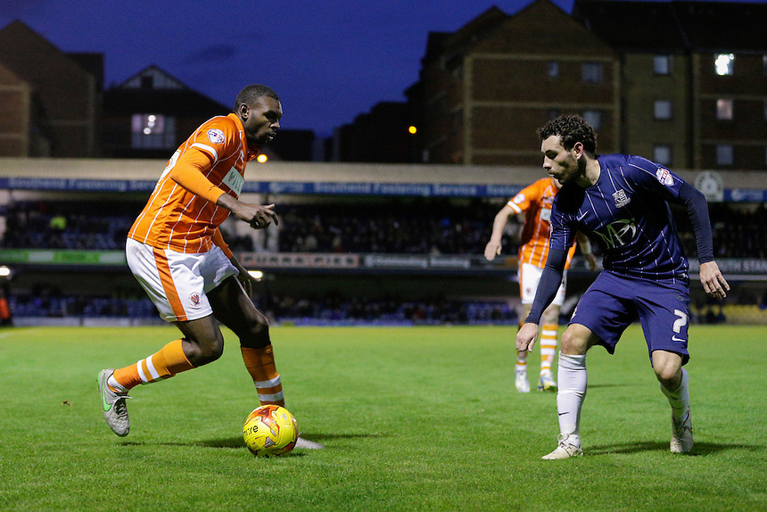 Blackpool&rsquo;s Hayden White in action during todays match  <br /> <br /> Photographer Craig Mercer/CameraSport<br /> <br /> Football - The Football League Sky Bet League One - Southend United v Blackpool - Saturday 21st November 2015 - Roots Hall - Southend<br /> <br /> &copy; CameraSport - 43 Linden Ave. Countesthorpe. Leicester. England. LE8 5PG - Tel: +44 (0) 116 277 4147 - admin@camerasport.com - www.camerasport.com