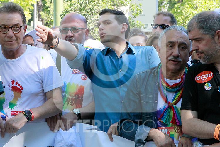 President of Ciudadanos Albert Rivera during the demonstration of World Pride Madrid 2017. July 1, 2017. (ALTERPHOTOS/Acero)