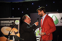 Pictured L-R: Kevin Johns speaks to Fernando Llorente Wednesday 18 May 2017<br />Re: Swansea City FC, Player of the Year Awards at the Liberty Stadium, Wales, UK.
