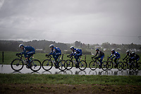 the FULL Deceuninck - Quick Step team taking control over the front of the peloton<br /> <br /> 105th Liège-Bastogne-Liège 2019 (1.UWT)<br /> One day race from Liège to Liège (256km)<br /> <br /> ©kramon