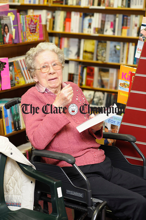 Mrs Sylvia Courtney, mother of author David Courtney attending the launch of Nine Lives at Ennis Bookshop. Photograph by John Kelly.