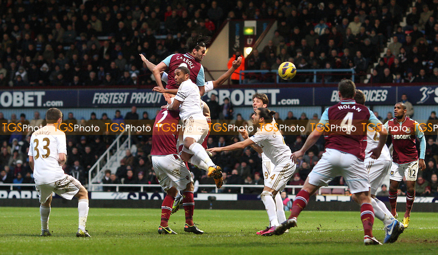 Andy Carroll scores the winning goal for West Ham - West Ham United vs Swansea City, Barclays Premier League at Upton Park, West Ham - 02/02/13 - MANDATORY CREDIT: Rob Newell/TGSPHOTO - Self billing applies where appropriate - 0845 094 6026 - contact@tgsphoto.co.uk - NO UNPAID USE.