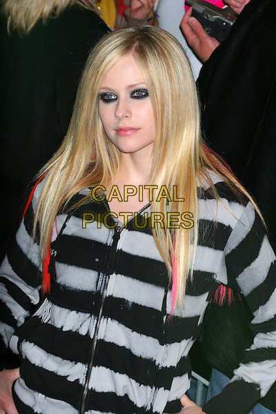 AVRIL LAVIGNE.At her In-Store Performance at Virgin Megastore, New York, NY, USA..April 18th, 2007.half length black grey gray top pink hair streaks eyeliner makeup make up make-up.CAP/IW.©Ian Wilson/Capital Pictures