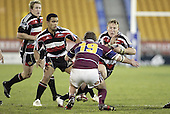 Nigel Watson confronts Jeff Wright during the Air NZ Cup game between the Counties Manukau Steelers and Southland played at Mt Smart Stadium on 3rd September 2006. Counties Manukau won 29 - 8.