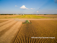 63801-09220 Soybean Harvest, John Deere combine harvesting soybeans - aerial - Marion Co. IL