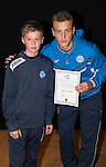 St Johnstone FC Academy Awards Night...06.04.15  Perth Concert Hall<br /> Ally Gilchrist presents a certificate to Ross Corbett<br /> Picture by Graeme Hart.<br /> Copyright Perthshire Picture Agency<br /> Tel: 01738 623350  Mobile: 07990 594431