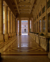 View down the Galleria delle Bibite to the courtyard beyond