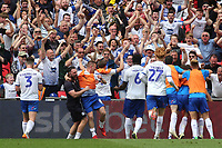 Tranmere Rovers celebrate their opening goal in the last minute of extra time scored by Connor Jennings during Newport County vs Tranmere Rovers, Sky Bet EFL League 2 Play-Off Final Football at Wembley Stadium on 25th May 2019