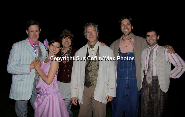 """Christopher Cass (Passions, Guiding Light, Loving """"Jack Forbes, As The World Turns """"Scott Eldridge"""") """"Duke Senior"""" stars with Clay Storseth """"Jaques"""", Connie Castanzo """"Celia"""", Nick Salamone """"Duke Frederick"""", Cass, Daniel Patrick Smith """"Charles"""" and Sid Solomon """"Oliver"""" in """"As You Like It"""" (June 8, 2014) as a part of the 15th Anniversary Season of New York Classical Theatre as it presents William Shakespeare's """"As You Like It"""" in Central Park (as 103rd St. and Central Park West) Thursday through Sunday evenings followed by Prospect Park and Battery Park performances, (Photo by Sue Coflin/Max Photos)"""