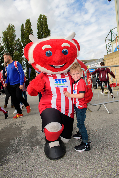 Lincoln City mascot Poacher the Imp with fans in the fan zone prior to the game<br /> <br /> Photographer Chris Vaughan/CameraSport<br /> <br /> The EFL Sky Bet League One - Lincoln City v Sunderland - Saturday 5th October 2019 - Sincil Bank - Lincoln<br /> <br /> World Copyright © 2019 CameraSport. All rights reserved. 43 Linden Ave. Countesthorpe. Leicester. England. LE8 5PG - Tel: +44 (0) 116 277 4147 - admin@camerasport.com - www.camerasport.com