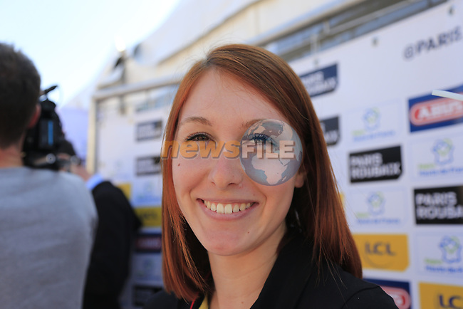 ASO girl at the Team Presentation for the upcoming 115th edition of the Paris-Roubaix 2017 race held in Compiegne, France. 8th April 2017.<br /> Picture: Eoin Clarke | Cyclefile<br /> <br /> <br /> All photos usage must carry mandatory copyright credit (&copy; Cyclefile | Eoin Clarke)