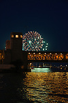 4th of July fireworks on the river walk, Chicago, Illinois