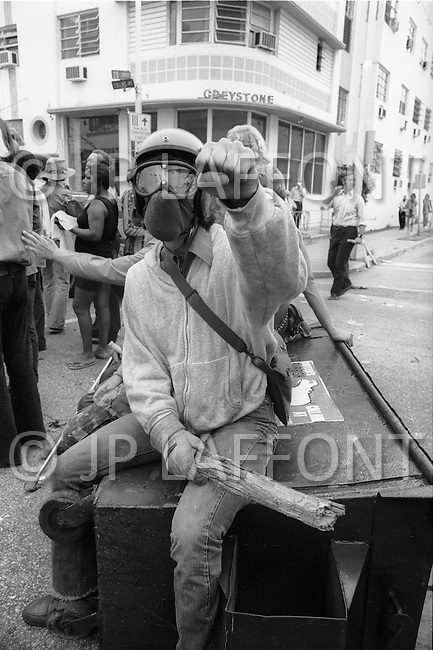 Miami, FL. August 23rd 1972.<br /> Outside of the 1972 30th Republican Convention, the horror of the Vietnam war is interpreted in the street by young demonstrators. Several thousand Women's Lib protesters also demonstrate. The protest led by Jane Fonda, having just returned from her North Vietnam tour, was joined by the Vietnam Veterans to speak out against the war. Police arrested 1000 demonstrators attempting to disrupt the convention.