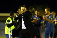 Romford manager Glenn Tamplin applauds the crows after Romford vs Coggeshall Town, BetVictor League North Division Football at the Brentwood Centre on 16th November 2019